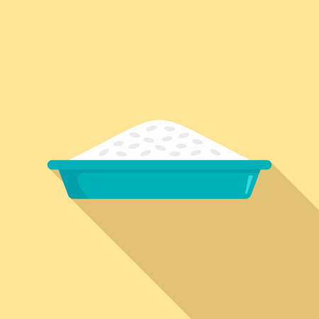 Rice plate lunch icon, flat style Illustration