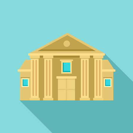 Column courthouse icon, flat style Stock Illustratie