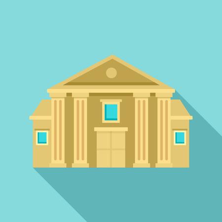 Säulengerichtsgebäude-Symbol, flacher Stil