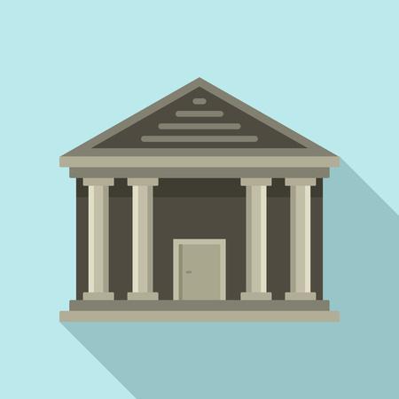 Stone courthouse icon, flat style
