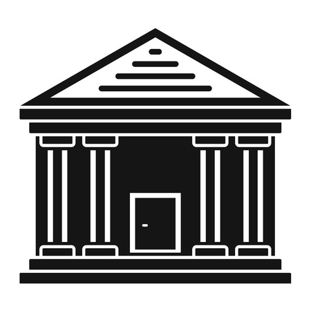Stone courthouse icon, simple style