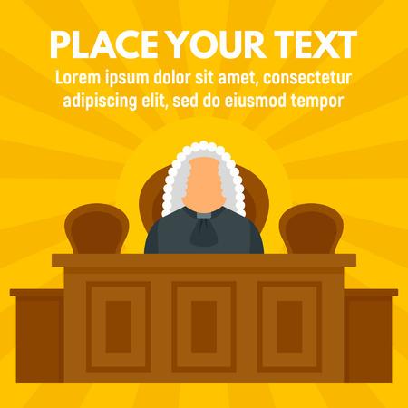 Fondo de concepto de juzgado de juez. Ilustración plana del fondo del concepto de vector de juzgado de juez para diseño web