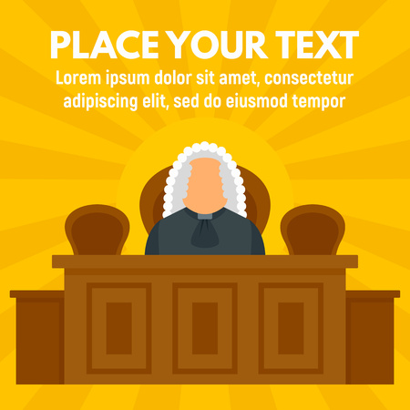 Judge courthouse concept background. Flat illustration of judge courthouse vector concept background for web design Illusztráció