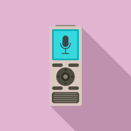 Digital dictaphone icon, flat style