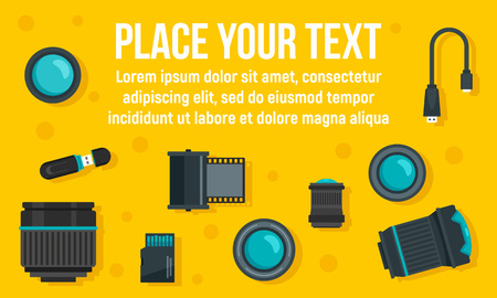 Photographer equipment concept banner. Flat illustration of photographer equipment vector concept banner for web design
