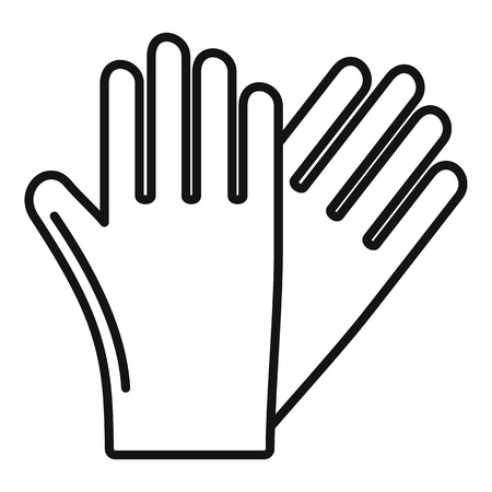 Icono de guantes de goma, estilo de contorno Ilustración de vector