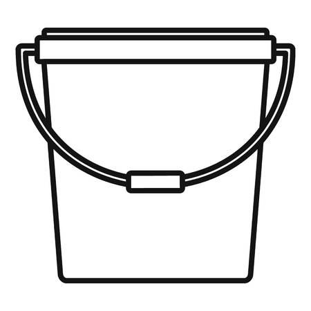 Kunststof emmer pictogram. Overzicht plastic emmer vector pictogram voor webdesign geïsoleerd op een witte achtergrond