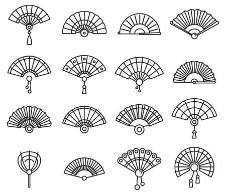 Paper handheld fan icons set. Outline set of paper handheld fan vector icons for web design isolated on white background Illustration