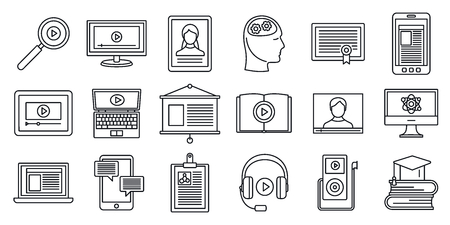 Online interactive learning icons set. Outline set of online interactive learning vector icons for web design isolated on white background