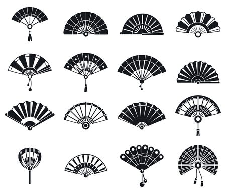 Japanese handheld fan icons set, simple style