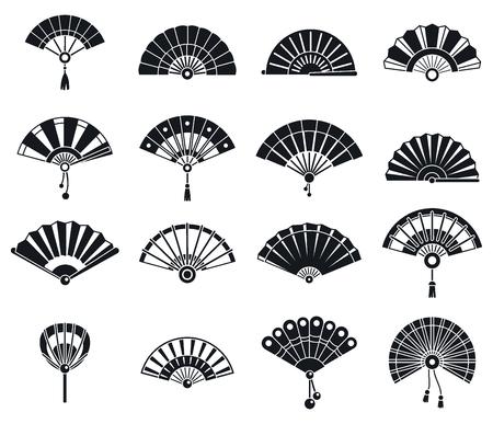 Jeu d'icônes de ventilateur de poche japonais, style simple