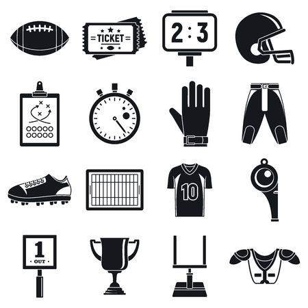American football icons set. Simple set of american football vector icons for web design on white background