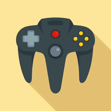 Video game joystick icon, flat style