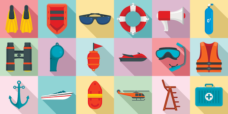 Sea safety icons set, flat style