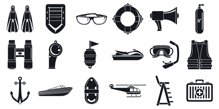 Rescue sea safety icons set. Simple set of rescue sea safety vector icons for web design on white background Vektorové ilustrace