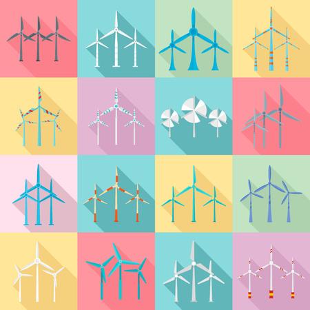 Wind turbine icons set. Flat set of wind turbine vector icons for web design