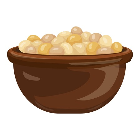 Soybean bowl icon. Cartoon of soybean bowl vector icon for web design isolated on white background