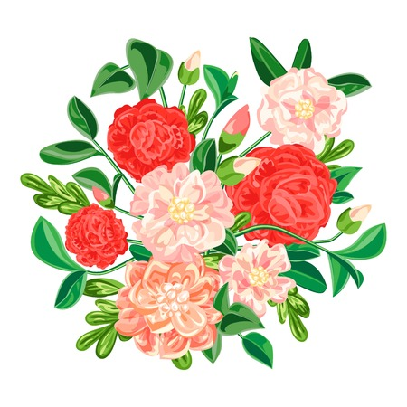 Camellia bouquet icon. Cartoon of camellia bouquet vector icon for web design isolated on white background Illustration