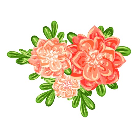 Camellia bunch icon. Cartoon of camellia bunch vector icon for web design isolated on white background Illustration