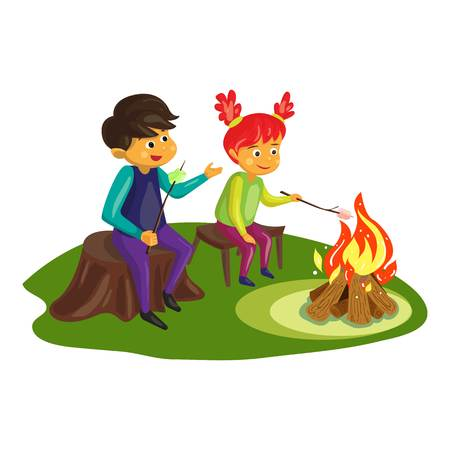 Kids marshmallow on fire concept background. Cartoon illustration of kids marshmallow on fire vector concept background for web design