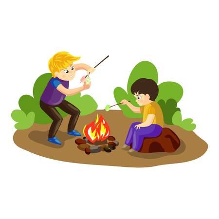 Boys make marshmallow on fire concept background. Cartoon illustration of boys make marshmallow on fire vector concept background for web design