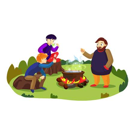 Camp marshmallow on fire concept background. Cartoon illustration of camp marshmallow on fire vector concept background for web design Illustration