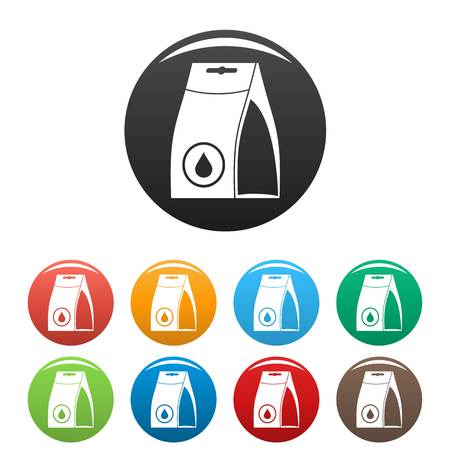 Washing detergent icons set 9 color vector isolated on white for any design