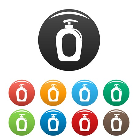 Soap gel dispenser icons set 9 color vector isolated on white for any design