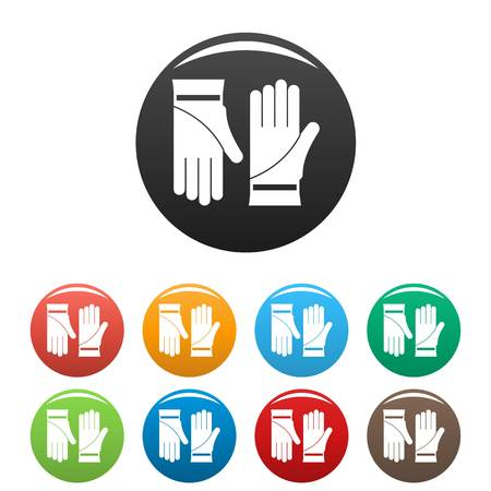 Cleaning gloves icons set 9 color vector isolated on white for any design Illustration