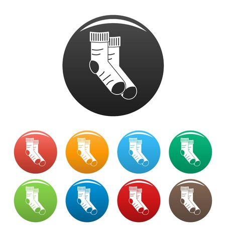 Clean socks icons set 9 color vector isolated on white for any design