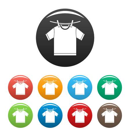 Tshirt dry icons set 9 color vector isolated on white for any design