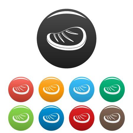Protein steak icons set 9 color vector isolated on white for any design Ilustração