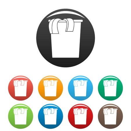 Box dirt clothes icons set 9 color vector isolated on white for any design