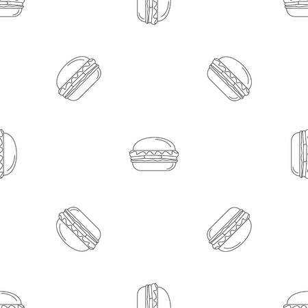 Fresh burger pattern seamless vector repeat geometric for any web design