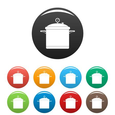 Big cook saucepan icons set 9 color vector isolated on white for any design  イラスト・ベクター素材