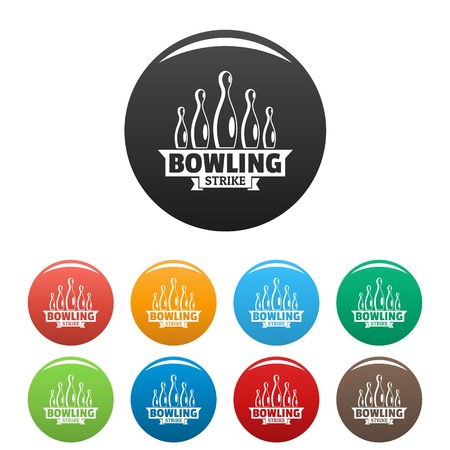 Bowling strike icons set color