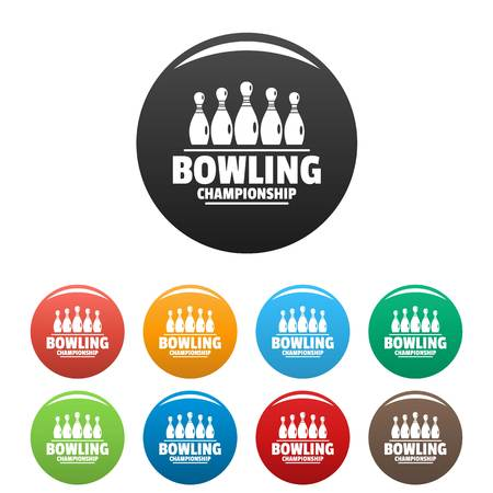 Bowling championship icons set color Stock Illustratie