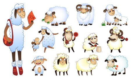 Sheep icons set. Cartoon set of sheep vector icons for web design