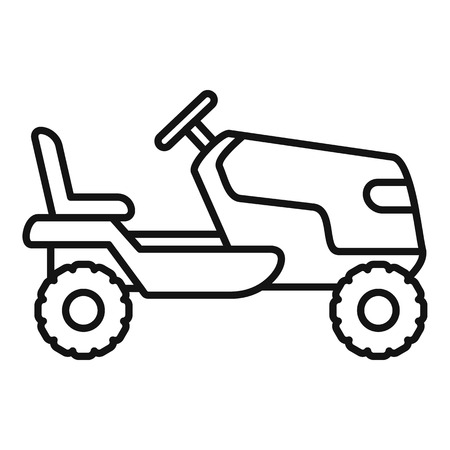 Tractor grass cutter icon. Outline tractor grass cutter vector icon for web design isolated on white background Illustration