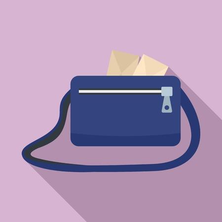 Postman bag icon. Flat illustration of postman bag vector icon for web design
