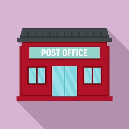 Post office building icon. Flat illustration of post office building vector icon for web design