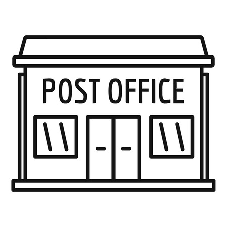 Post office building icon. Outline post office building vector icon for web design isolated on white background Çizim