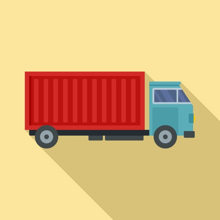 Cargo truck icon. Flat illustration of cargo truck vector icon for web design