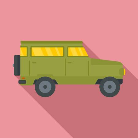 Hunting off road car icon. Flat illustration of hunting off road car vector icon for web design Illustration