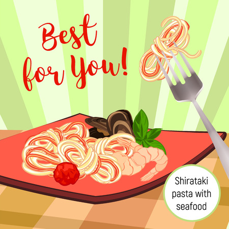 Pasta with seafood concept background. Cartoon illustration of pasta with seafood vector concept background for web design
