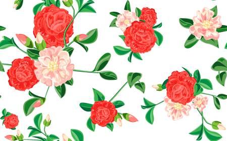 Camellia pattern. Cartoon illustration of camellia vector pattern for web design Illustration