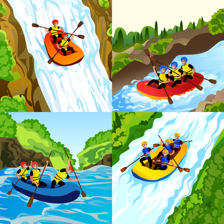 Ensemble de bannières de rafting. Bande dessinée illustration d'un ensemble de bannières vectorielles de rafting pour la conception de sites Web Vecteurs