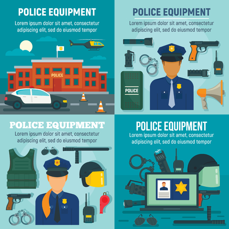 Police equipment banner set, flat style