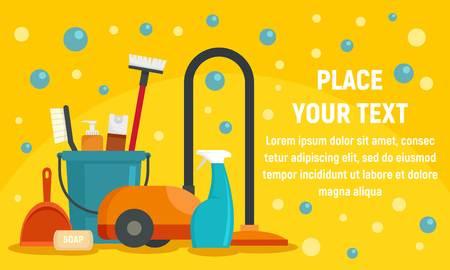 Cleaner equipment concept banner. Flat illustration of cleaner equipment vector concept banner for web design