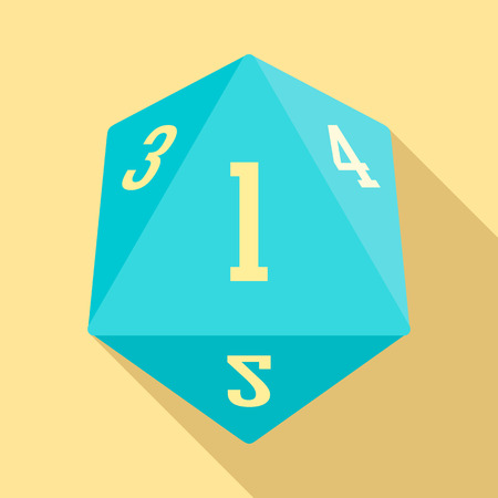 Dice polygonal number icon. Flat illustration of dice polygonal number vector icon for web design Illustration